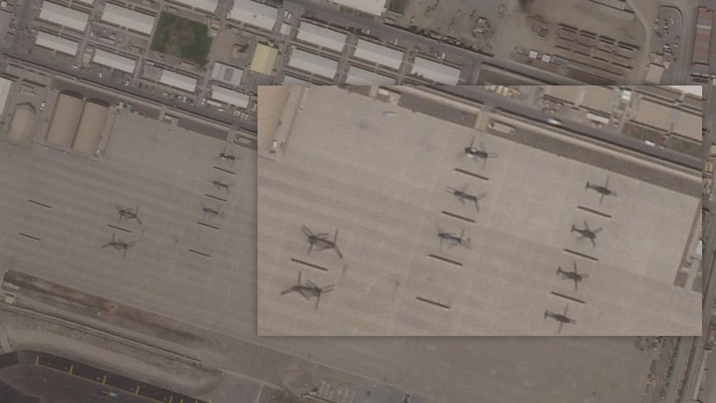 Satellite image of CH-46E helicopter in Kabul airport