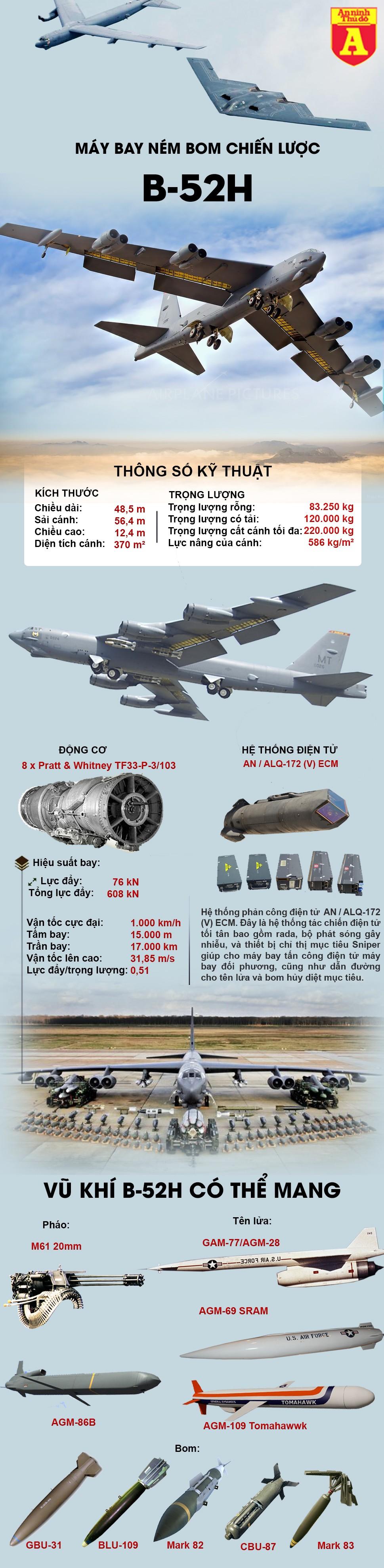 """[ĐỒ HỌA] Mỹ quyết định """"lột xác"""" sức mạnh cho pháo đài bay B-52 để lấn át Tu-95 Nga ảnh 2"""