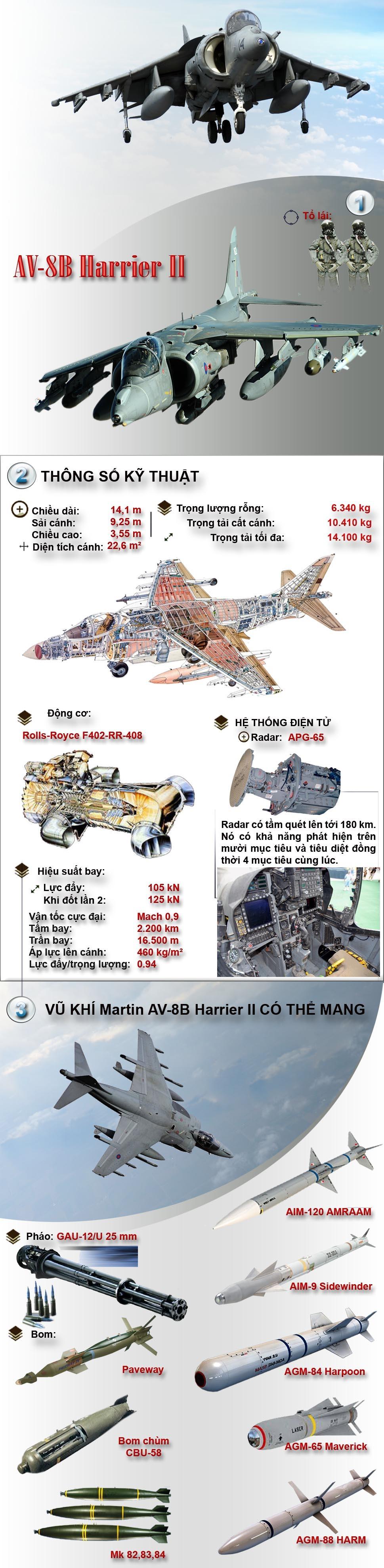 [Infographic] Sức mạnh tiêm kích cất-hạ cánh thẳng đứng nổi tiếng AV-8B Harrier II ảnh 1