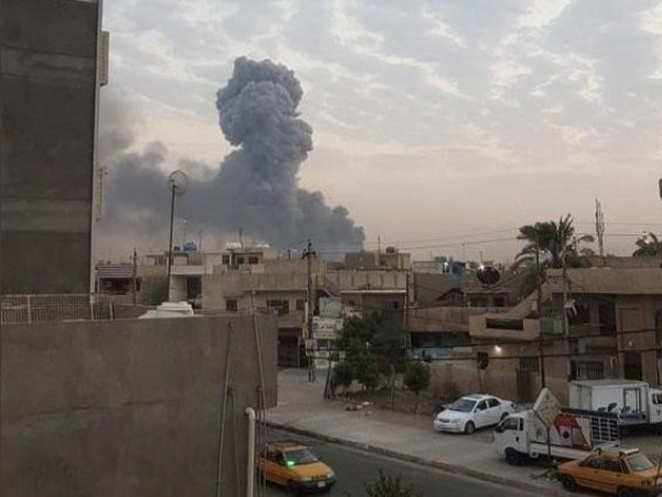 Cột khói bốc lên từ vụ nổ