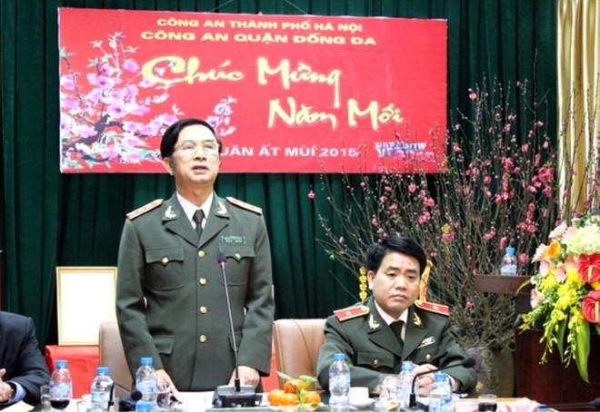 Thượng tướng Đặng Văn Hiếu, Thứ trưởng Thường trực Bộ Công an phát biểu chỉ đạo tại buổi thăm, chúc tết CAQ Đống Đa