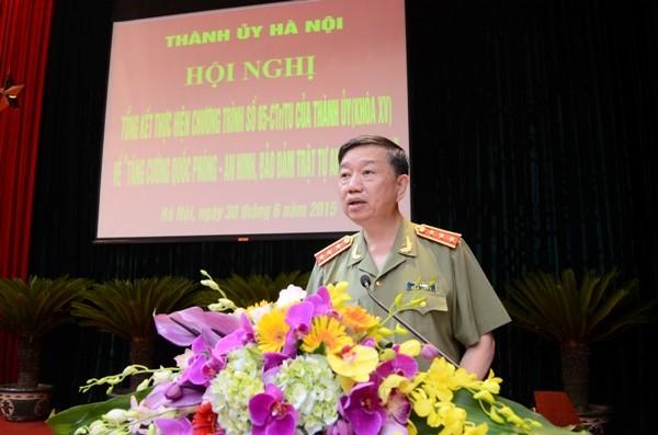 Thượng tướng Tô Lâm, Thứ trưởng Bộ Công an đánh giá cao việc thực hiện Chương trình 05 của Thành ủy Hà Nội
