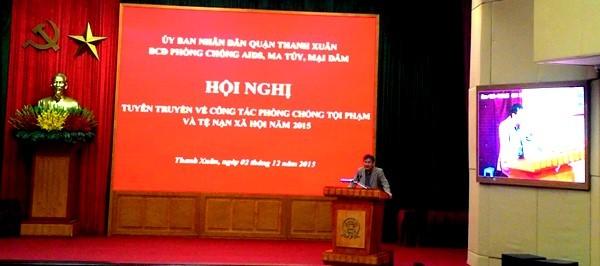 Thượng tá Chử Văn Thân tuyên truyền công tác phòng chống ma túy