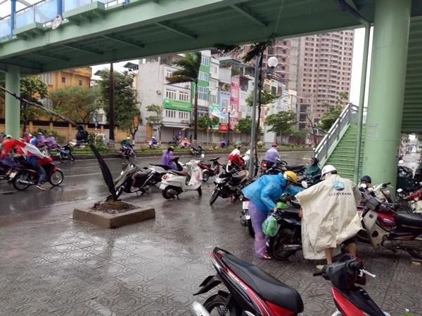 Nhiều người đi đường bị gió lốc tạt đầu xe phải dừng lại dưới gầm cầu vượt dành cho người đi bộ ở đường Tân Mai