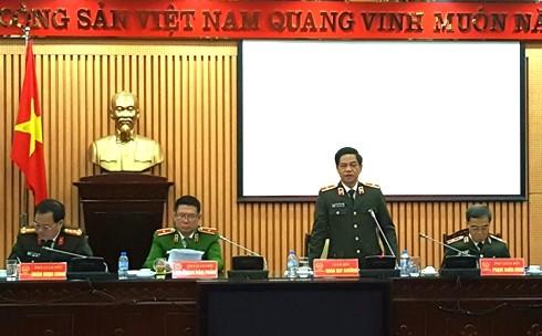 Thiếu tướng Đoàn Duy Khương phát biểu chỉ đạo tại Hội nghị sơ kết 1 tháng thực hiện cao điểm tấn công trấn áp tội phạm, bảo vệ Tết Nguyên đán Đinh Dậu 2017 của CATP Hà Nội