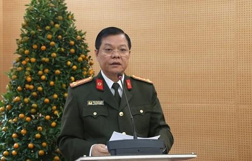 Đại tá Đào Thanh Hải, Phó Bí thư Đảng ủy CATP Hà Nội phát biểu chỉ đạo tại hội nghị