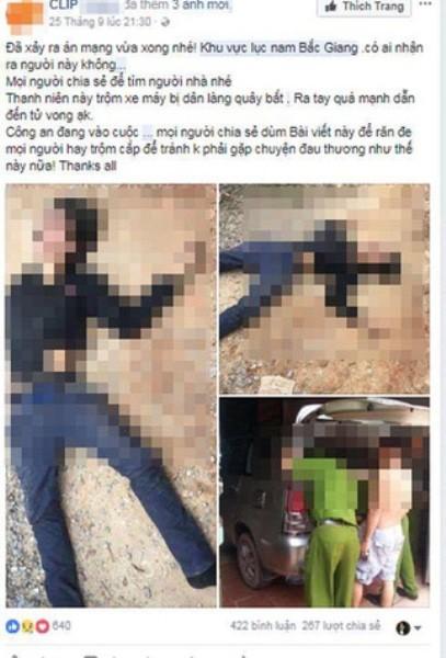Thông tin trộm chó bị đánh chết ở Vĩnh phúc được đăng lên facebook là thông tin bịa đặt