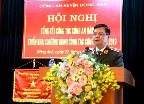 Thiếu tướng Đào Thanh Hải phát biểu chỉ đạo tại hội nghị triển khai công tác Công an năm 2019 của CAH Đông Anh