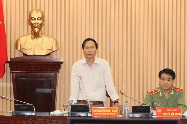 Đồng chí Nguyễn Hoài Nam đánh giá cao công tác của CATP, CSPCCC đồng thời nêu xuất những vấn đề, lĩnh vực CATP Hà Nội trình bày cụ thể trong báo cáo công tác