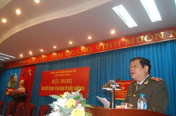 Thiếu tướng Lưu Quang Hợi, Phó Giám đốc CATP Hà Nội phát biểu chỉ đạo tại Hội nghị