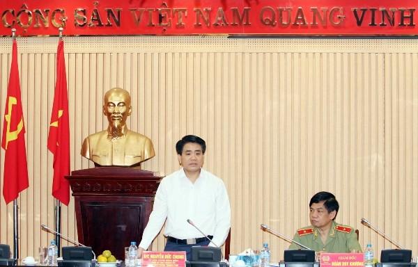 Chủ tịch UBND TP Hà Nội Nguyễn Đức Chung phát biểu chỉ đạo tại buổi kiểm tra