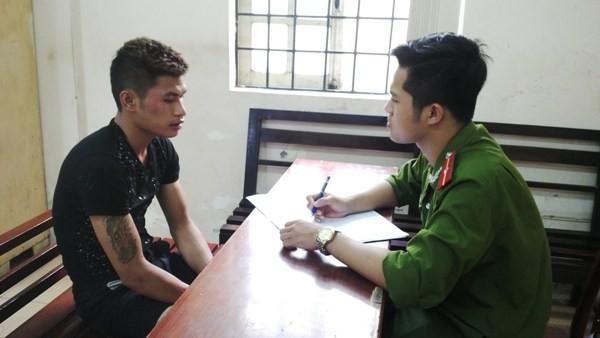 Đối tượng Sơn khai nhận hành vi phạm pháp trước CAP Yên Hòa