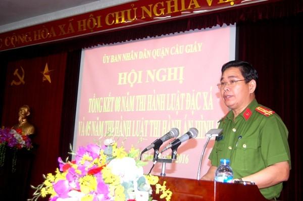 Thượng tá Nguyễn Văn Thủy phát biểu tại Hội nghị