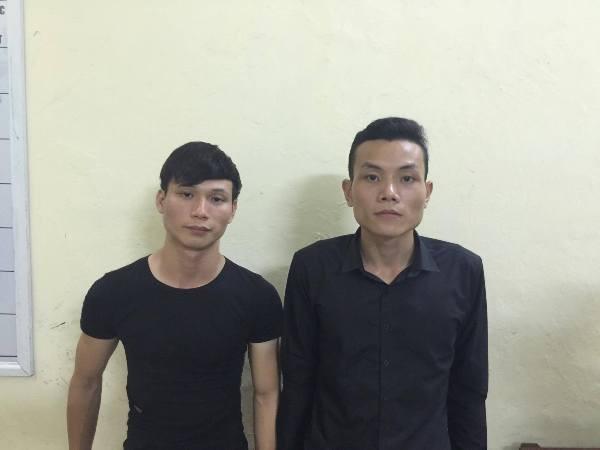 Hai đối tượng An và Đoàn bị Công an bắt quả tang khi đang trộm cắp tài sản