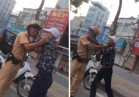 Đối tượng Nguyễn Chí Cường lao vào hành hung CSGT