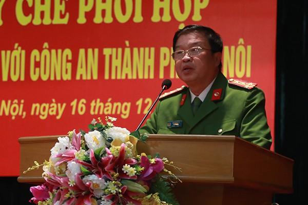 Đại tá Bùi Quang Vũ, Hiệu trưởng Trường Cao đẳng CSND 1 phát biểu tại lễ ký Quy chế phối hợp
