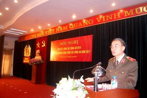 Thiếu tướng Phạm Xuân Bình, Phó Giám đốc CATP Hà Nội phát biểu chỉ đạo tại hội nghị