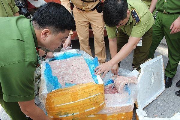 Nầm lợn bẩn được tuồn từ biên giới về nội địa tiêu thụ bị cơ quan chức năng phát hiện, thu giữ
