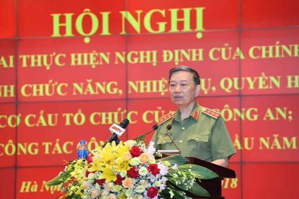 Thượng tướng Tô Lâm, Ủy viên Bộ Chính trị, Bộ trưởng Bộ Công an phát biểu chỉ đạo hội nghị