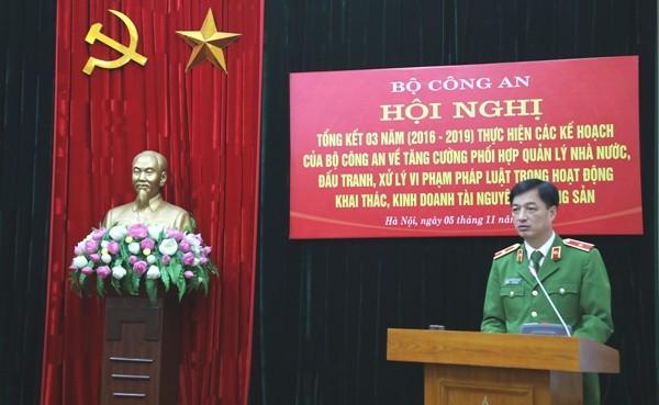 Đồng chí Thứ trưởng Nguyễn Duy Ngọc yêu cầu Công an các đơn vị, địa phương phải vào cuộc quyết liệt, hiệu quả hơn nữa trong công tác đấu tranh, phòng chống vi phạm về tài nguyên, khoáng sản, cát sỏi