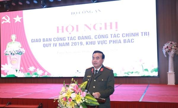 Đại tá Nguyễn Trung Thực, Giám đốc Công an tỉnh Lạng Sơn, đơn vị đăng cai tổ chức Hội nghị phát biểu chào mừng các đại biểu tham dự hội nghị về công tác Đảng, công tác chính trị CAND