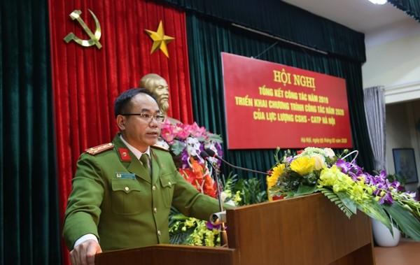 Đại tá Nguyễn Thanh Tùng, Phó Giám đốc CATP Hà Nội nhấn mạnh các yêu cầu nhiệm vụ với lực lượng CSHS Thủ đô trong năm 2020