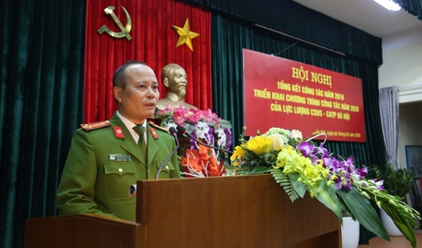 Đại tá Nguyễn Hữu Sự, Phó cục trưởng Cục CSHS phát biểu chỉ đạo tại hội nghị