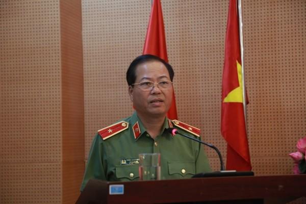 Thiếu tướng Đoàn Ngọc Hùng, Phó Giám đốc CATP Hà Nội phát biểu chỉ đạo, giao nhiệm vụ cho Cụm thi đua số 4