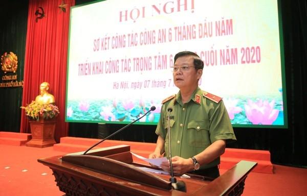 Thiếu tướng Đào Thanh Hải, Phó Bí thư Đảng ủy, Phó Giám đốc CATP Hà Nội phát biểu khai mạc Hội nghị