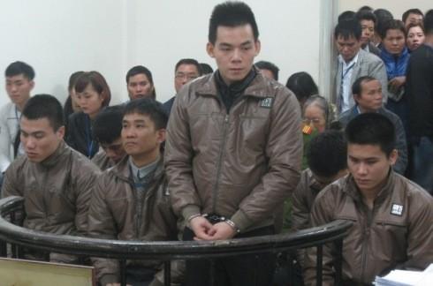 Các bị cáo trong vụ án tại phiên tòa sơ thẩm