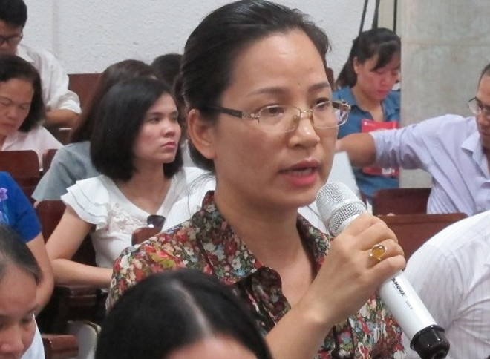 Cựu nữ Giám đốc Oceanbank Hải Dương - Trần Thị Thu Hương tại phiên xử