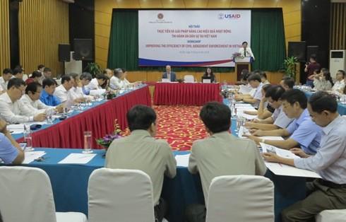 Các đại biểu tham dự hội thảo về nâng cao hiệu quả hoạt động THADS.