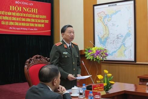 Thượng tướng, Ủy viên Bộ Chính trị, Bí thư Đảng ủy Công an Trung ương, Bộ trưởng Bộ Công an Tô Lâm phát biểu tại hội nghị.