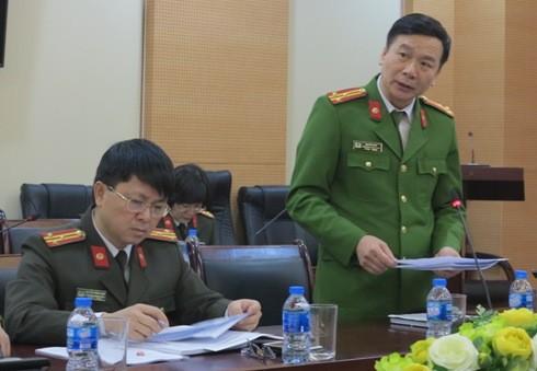 Thượng tá Nguyễn Bình - Trưởng phòng Cảnh sát hình sự (CATP Hà Nội) báo cáo kết quả 5 năm đấu tranh phòng, chống TPCTC của CATP Hà Nội