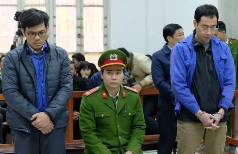 Hai bị cáo từng là lãnh đạo, cán bộ Công ty CP Lọc hóa dầu Bình Sơn tại phiên tòa