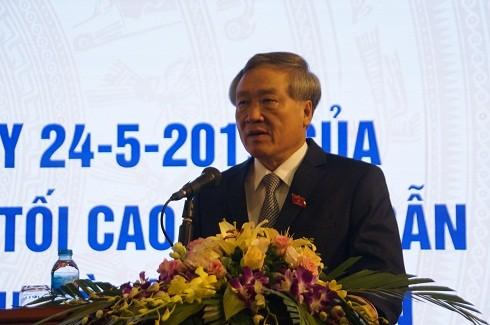 Bí thư Trung ương Đảng, Chánh án TAND Tối cao Nguyễn Hòa Bình phát biểu tại Lễ công bố Nghị quyết 03/2019 của Hội đồng Thẩm phán TAND Tối cao.