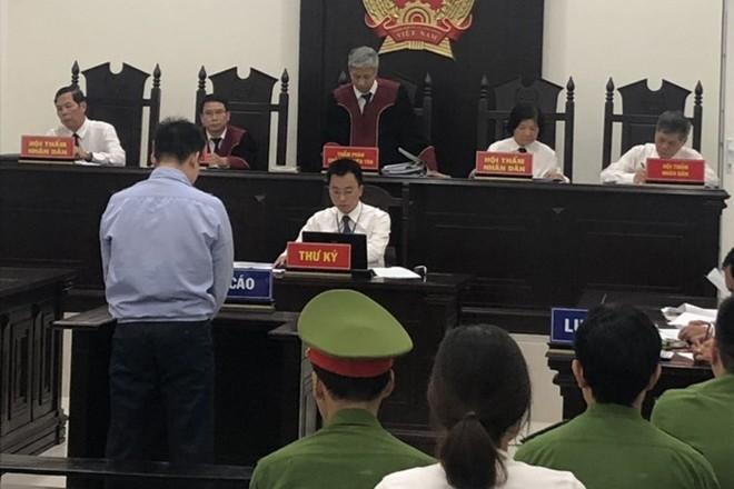 Nguyễn Trọng Trình tại phiên tòa sơ thẩm hồi tháng 9 vừa qua.