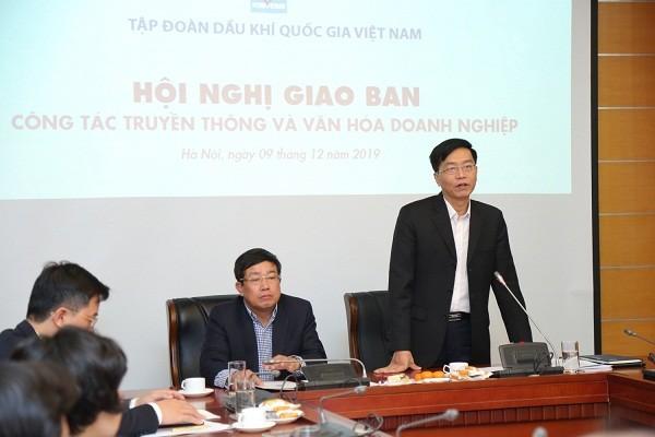 Ông Trần Quang Dũng - Trưởng Ban Truyền thông và Văn hóa doanh nghiệp Petrovietnam phát biểu tại một hội nghị về văn hóa doanh nghiệp.