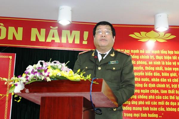 Thiếu tướng Lưu Quang Hợi phát biểu tại buổi gặp mặt