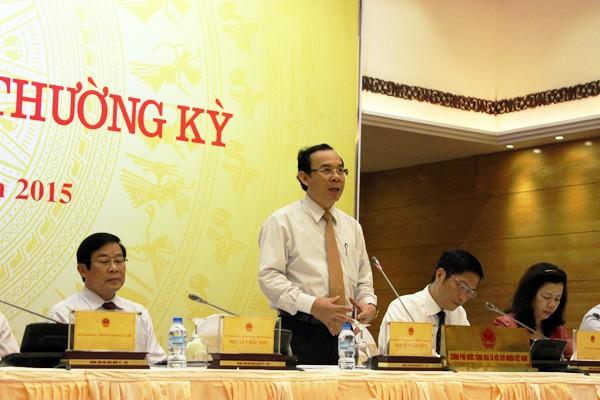 Bộ trưởng, Chủ nhiệm VPCP Nguyễn Văn Nên, Người phát ngôn của Chính phủ chủ trì phiên họp báo vào chiều nay 1-4