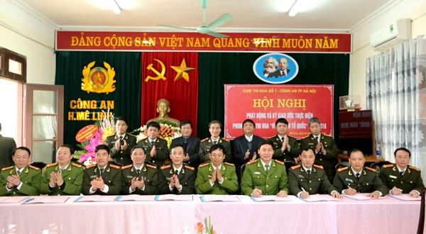 10 đơn vị của Cụm thi đua số 7 ký kết Giao ước thi đua năm 2016 trước sự chứng kiến của Thiếu tướng Phạm Xuân Bình và các đại biểu