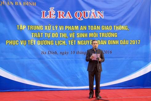 Ông Nguyễn Quang Trung, Phó Chủ tịch UBND quận Ba Đình phát biểu tại buổi lễ