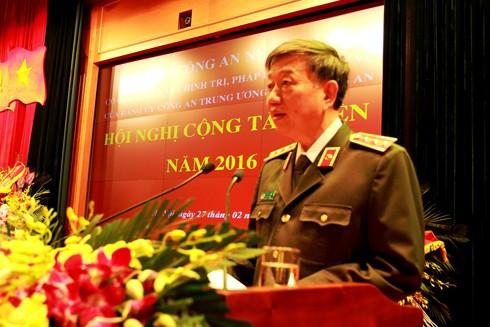 Thượng tướng, GS.TS Tô Lâm, Ủy viên Bộ Chính trị, Bộ trưởng Bộ Công an đến dự và chỉ đạo tại Hội nghị