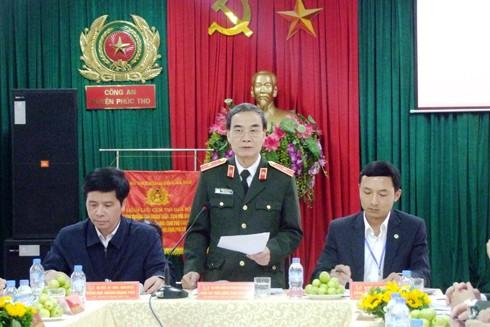 Thiếu tướng Phạm Xuân Bình phát biểu tại hội nghị