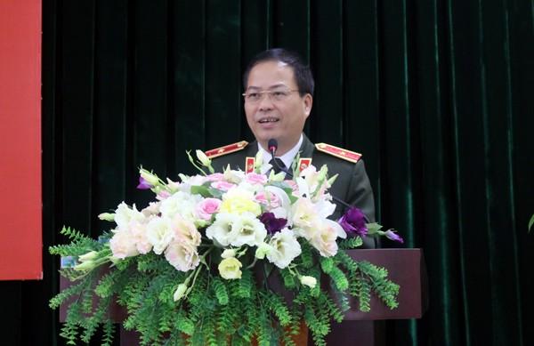 Thiếu tướng Đoàn Ngọc Hùng - Phó giám đốc CATP Hà Nội phát biểu tại Hội nghị