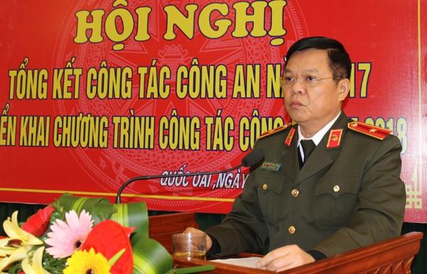 Thiếu tướng Đào Thanh Hải - Phó Bí thư Đảng ủy, Phó Giám đốc CATP Hà Nội phát biểu, giao nhiệm vụ cho CAH Quốc Oai