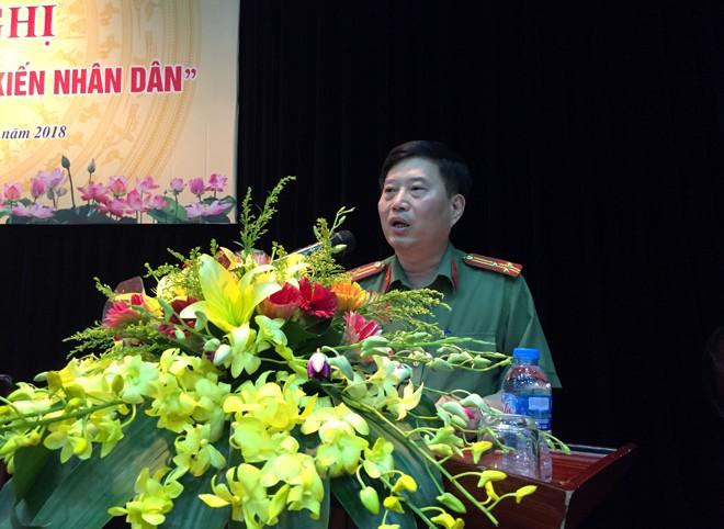 Thượng tá Trịnh Quốc Tuấn, Phó trưởng CAQ Ba Đình phát biểu chủ trì hội nghị