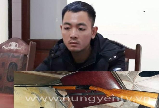 Nguyễn Văn Hưng và khẩu súng đối tượng sử dụng bắn anh L tử vong