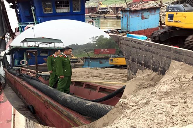 Tổ công tác Đội 3, Phòng Cảnh sát môi trường CATP Hà Nội phối hợp với Công an thị xã Sơn Tây liên tiếp bắt giữ đối tượng khai thác cát trái phép trên sông Hồng