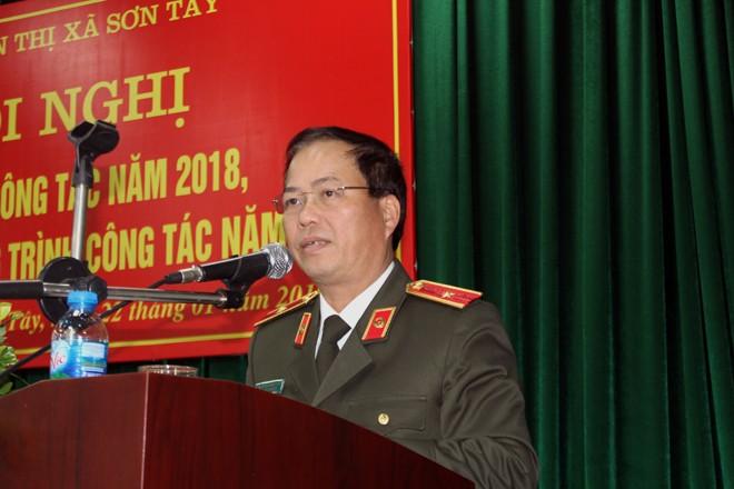 ồng chí Thiếu tướng Đoàn Ngọc Hùng - Phó Giám đốc CATP dự và phát biểu tại hội nghị